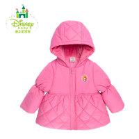 迪士尼Disney冬季新品前开夹棉外套女童宝宝带帽保暖棉服154S732