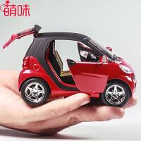 萌味 车模 仿真奔驰smart甲壳虫合金声光回力车模儿童玩具车回力小车男孩小汽车模型
