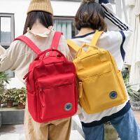 防水双肩包女学院风书包女学生纯色小清新背包