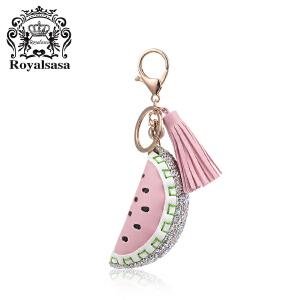 皇家莎莎钥匙扣送女友车用西瓜香蕉草莓挂饰女流苏钥匙链时尚包挂件