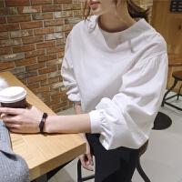 2018春装泡泡灯笼袖白色衬衫时尚气质大码长袖衬衣上衣女 白色 圆领