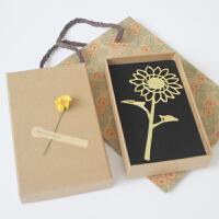 向日葵黄铜精密金属书签阳光不离不弃的爱幸福美好祝福花语礼品