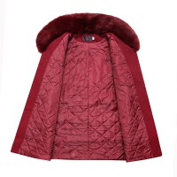 中老年女装冬装加棉加厚毛呢外套60-70岁奶奶上衣老人外套妈妈装