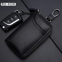 汽车钥匙包大容量拉链包男女士时尚腰挂锁匙包情侣潮 黑色有挂扣