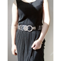个性宽腰带百搭装饰时尚裙带女士韩版水钻镶嵌连衣裙弹力外套腰封