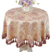 欧式大圆桌餐桌布布艺棉麻台布圆形椭圆形紫色茶几盖布流苏边 紫色 金粉佳人紫圆形