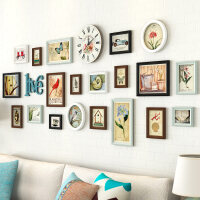 客厅照片墙 实木挂钟相框墙带钟表创意挂墙组合沙发背景墙相片墙