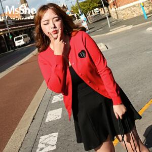 MsShe加肥加大码女装2017新款秋装修身毛织开衫外套M1710647