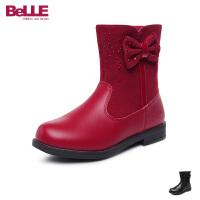 百丽Belle童鞋儿童皮鞋女童皮靴天鹅绒保暖时装靴牛皮休闲中筒靴 (5-15岁可选) DE0499