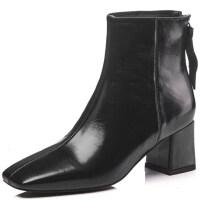 女靴春秋单靴2018新款短靴女士高跟及踝靴粗跟裸靴方头女鞋子