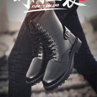 秋季英伦马丁靴男保暖加绒雪地高帮鞋男靴子马靴中帮拉链冬靴长筒 A12 黑色
