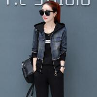 韩版卫衣三件套休闲运动套装女牛仔拼接拉链显瘦时尚