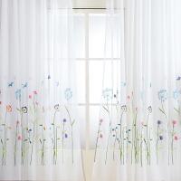 出口纱帘窗帘半遮光绣花田园刺绣阳台飘窗挂钩式窗纱简约现代 白色 3m宽x2.75m高 成品一片