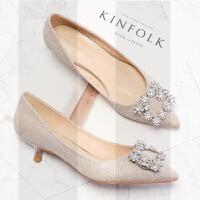 香槟色水晶鞋高跟鞋女细跟单鞋小跟鞋伴娘鞋新娘鞋婚鞋低跟鞋3cmSN7874