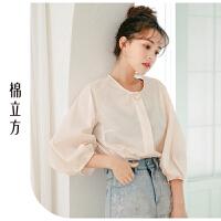 衬衫女2019春季新款棉立方韩版宽松设计感小众气质显瘦圆领衬衣