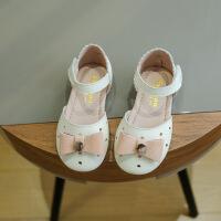 拥抱熊 2018春夏新款女童韩版撞色蝴蝶结包头凉鞋1-3岁儿童真皮镂空凉鞋