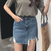 夏季高腰短裙女不规则破洞牛仔裙字裙韩版性感包臀裙半身裙潮