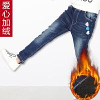 2018女童中大童秋冬季新款牛仔裤长裤宽松儿童加绒加厚棉裤子外穿