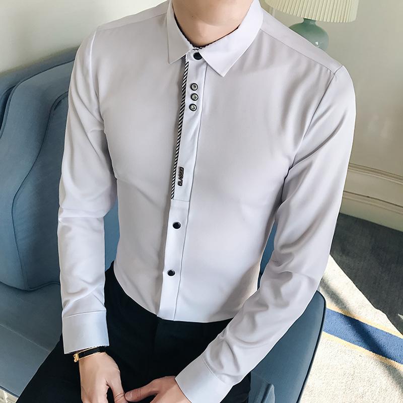 男装春款修身衬衣潮韩版寸衫白色男士休闲长袖衬衫青年
