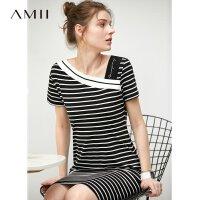【到手价:104元】Amii极简心机字连衣裙女2020夏季新款斜v领条纹气质显瘦中长裙子