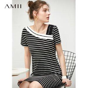 【到手价97.9元】Amii极简法式chic小众连衣裙2019夏季新款撞色条纹绣花短袖中长裙