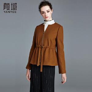 颜域品牌女装时尚女2017冬季新款加厚纯色焦糖色系带圆领短外套