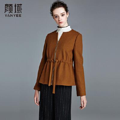 颜域品牌女装时尚女2017冬季新款加厚纯色焦糖色系带圆领短外套腰部抽绳设计,时尚优雅