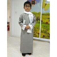 五四青年服装民族相声演出服男童大褂儿童长袍表演服中式长衫新品 灰色 哑光