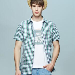 男士竹纤维短袖衬衫 冰爽绿白小格