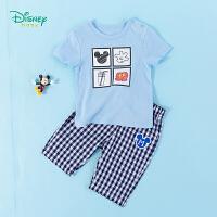 迪士尼Disney童装 男童套装圆领肩开短袖T恤纯棉七分裤2020年夏季新品儿童两件套