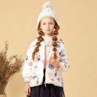 美特斯邦威旗下Moomoo童装冬季女童时尚印花短款阔版连帽拉链保暖羽绒服女