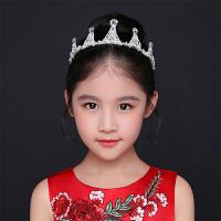 儿童皇冠公主女孩头饰水钻发箍生日礼物走秀礼服儿童演出配饰王冠3748 白色