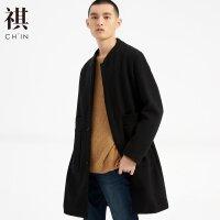 【1件2折到手价:175.2】CHIN祺秋冬季风衣修身中长款呢子外套中式复古大衣男新款立领