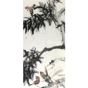 知名画家 伟寅 《麻雀 。  竹 》65*44cm.纸本软片