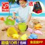 德国hape儿童沙滩玩具9件套宝宝大号玩沙工具决明子沙漏铲子套装