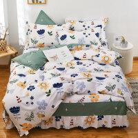 伊迪梦家纺 全棉床裙式四件套 床罩款式斜纹印花纯棉床品套件多规格单人双人床HC1903