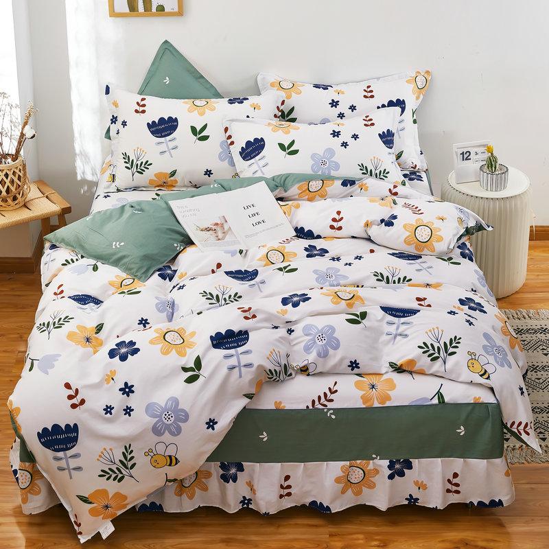 伊迪梦家纺 全棉床裙式四件套 床罩款式斜纹印花纯棉床品套件多规格单人双人床HC1903 年末大促满减&叠加领券优惠