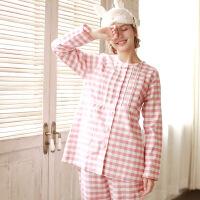 春秋季孕妇睡衣套装格子棉月子服 产妇哺乳衣长袖喂奶衣