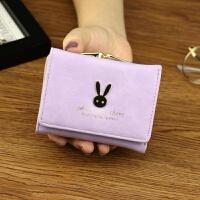 女士钱包 女 短款日韩版简约迷你学生兔子小钱包零钱包钱夹皮夹 紫色 小兔子