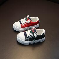 小童布鞋拼色男童宝宝帆布鞋1-2-3岁套脚宝宝布鞋女童懒人休闲鞋