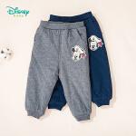 迪士尼Disney童装 男童夹棉保暖长裤船长米奇印花裤子冬季新品防风棉裤194K850
