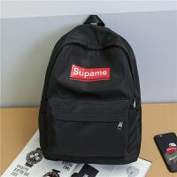 双肩包女时尚电脑包韩版大学生书包男休闲防水尼龙背包旅行包 黑色 现货
