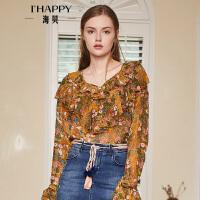 海贝2018秋季新款女装复古V领荷叶边印花长袖喇叭袖套头小衫衬衫
