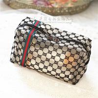 韩国透明纱网简约百搭轻薄大号手拿包化妆包旅行洗漱包收纳包