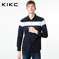 kikc男装黑白条纹长袖衬衫2017新款青年纯棉拼接韩版休闲修身衬衣