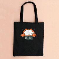 原创帆布包单肩包手提包环保袋购物大脸加菲猫女学生书包拉链 just猫咪大图-黑包