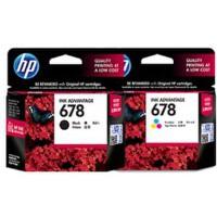 惠普原装正品 hp 678 彩色喷墨打印机一体机墨盒 678黑色墨盒 678彩色墨盒 适用于 HP 2648 3515