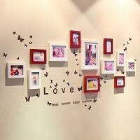 心形实木照片墙+love墙贴相片墙相框墙客厅卧室家居时尚创意组合