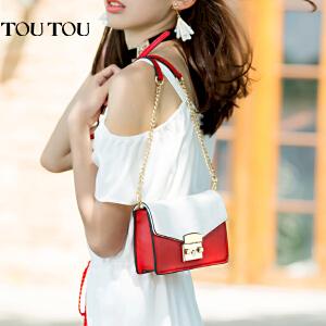 toutou2017夏季新款包包女撞色百搭链条锁扣小方包单肩斜挎链条包