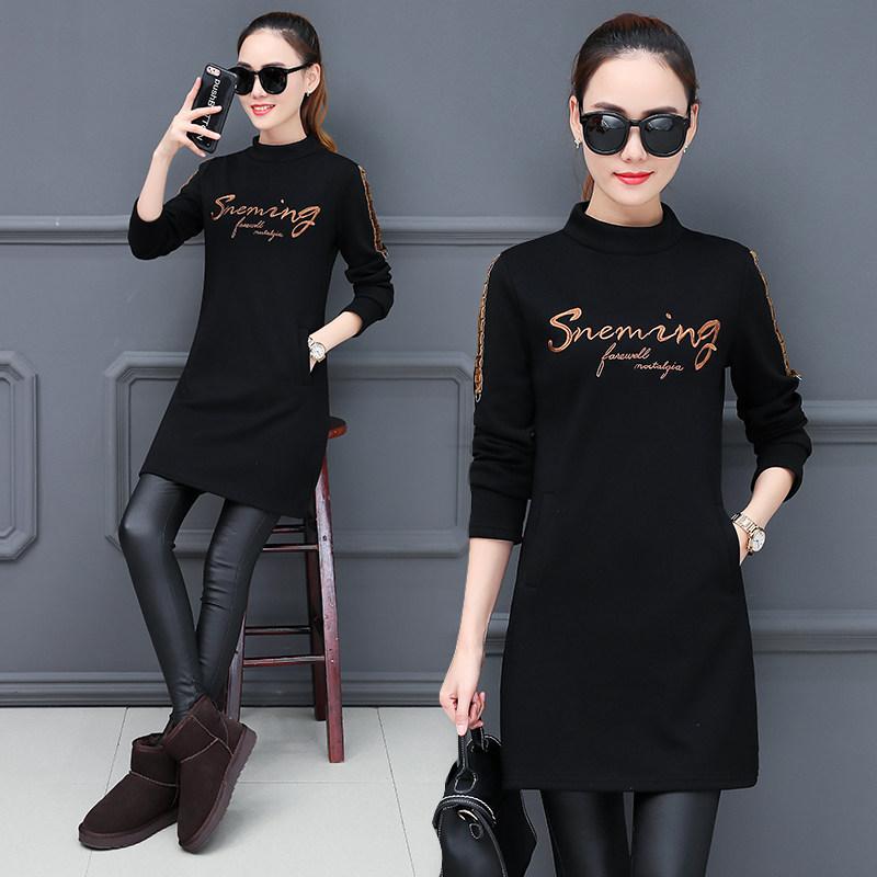 加绒加厚打底衫女秋冬新款保暖半高领中长款修身百搭长袖T恤 黑色